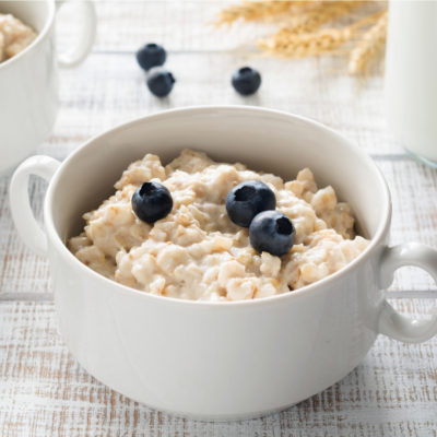 Oatmeal in a bowl with blueberries
