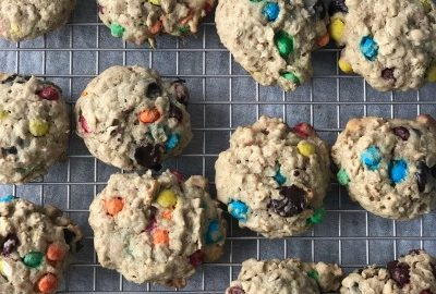 Lactation cookies cooling on a wire rack